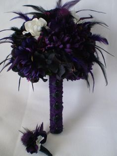 TWILIGHT Wedding Bouquet With Feathers by Ardesign on Etsy