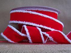 "Wired Ribbon 1 1/2"" Christmas Red Velvet White Fuzzy Edge FOUR YARDS Offray ""Santa's Scarf"". $4.95, via Etsy."