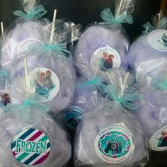Grape flavored custom cotton candy fluffballs for a Frozen themed birthday party. Grape flavored custom cotton candy fluffballs for a Frozen themed birthday party. Frozen Themed Birthday Party, Frozen Party, 3rd Birthday Parties, Birthday Party Favors, 4th Birthday, Birthday Candy, Birthday Ideas, Cotton Candy Favors, Cotton Candy Party