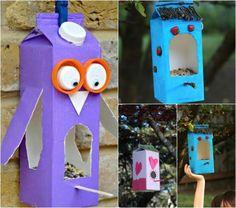 Bastelideen für Sommer kleinkinder-vogelfutterstation-saft-milchkarton