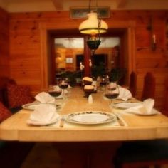 The dinning area in the main cabin. Enjoy the salmon you catch in the river here in this gorgeous dinning room. www.flyfishingnorway.com Cabins, Norway, Salmon, Table Settings, River, Room, Bedroom, Place Settings, Rooms