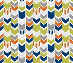 Green Navy Orange custom chevron fabric by mrshervi on Spoonflower - custom fabric