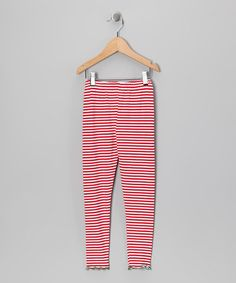 Take a look at this Red & White Stripe Leggings - Toddler & Girls by Happy Holidays: Girls' Apparel on #zulily today!