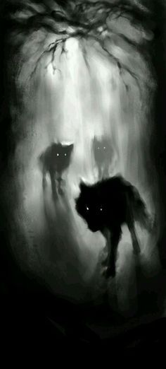 This picture holds a lot of intensity and brings an ominous feeling with the way the wolves' white eyes are contrasting to its dark body. It also shows a lot of depth between the foreground and background, yet manages to blend them all together into one piece.