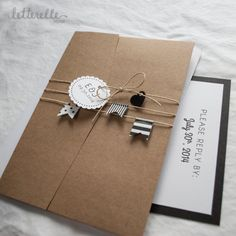 Washi Flags Kraft Wedding Invitation 5X7 with Pocket by letterelle, $5.50