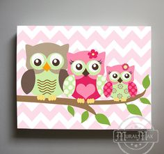 Art for Kids Room Owl Decor Girls wall art - Owl canvas art - Owl Nursery - Owl Childrens Art - Chil Owl Canvas, Nursery Canvas, Nursery Wall Art, Nursery Decor, Canvas Art, Room Decor, Canvas Prints, Initial Canvas, Room Art