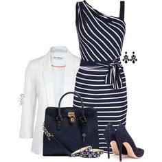 """Classic in Navy and White"" by pinkroseten on Polyvore"