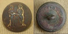 A Kentucky Military Institute coat button. The front has some gold guilt around the two men shaking hands. Good detail & a faint KMI can be seen. The back has an upright shank & the Horstmann & Allien with rays backmark. This is a strong button with no damage & the front has a domed shape.