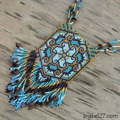 "Inspiration from Russian beadwork blog - Jewelry by Anabel this one is called; Pendant ""unprecedented flower"""