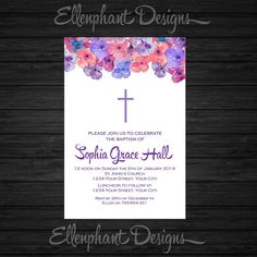 Purple & white floral Baptism Invitation, christening, first communion, confirmation, pink, pansies, custom invite, digital file, you print