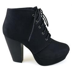 Goldie-11 Black Lace Up Chunky Heel Ankle Booties