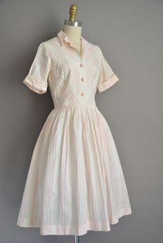 años 50 blanco algodón raya rosa vintage falda vestido vestido