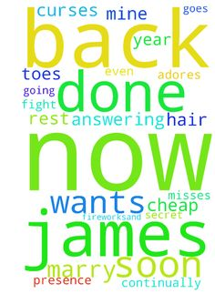 Please Lord -  	I get my hair done nails done toes done free or cheap. James comes back to me as soon as he can. No more assingments destruction evil prayers word curses keeping him from me now. James makes it back n time for fireworks�and gets rest with me before he goes back to fight fires.James is mine and he misses me severely James is answering prayer as my husband Boaz for me. He�doesn't even look at other women he wants to get back to me as soon as he can now everytime he leaves.James…