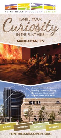 The Flint Hills Discovery Center inspires people to celebrate, explore and preserve the Flint Hills. Let your exploration of the Flint Hills begin here! Flint Hills, Brochure Online, Local Activities, Interactive Learning, Learning Centers, Brochures, Preserve, Discovery, Tours