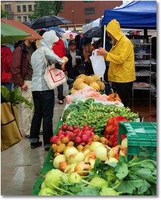 A rainy market day; Dane County Farmers' Market on the Square, Madison, Wisconsin