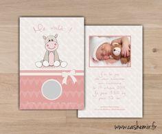 Faire-part naissance bébé original à gratter n°11 hippopotame : Faire-part par cashemir