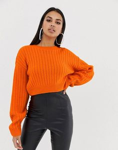 Buy PrettyLittleThing Ribbed Cropped Knitted Jumper in orange at ASOS. Get the latest trends with ASOS now. Orange Outfits, Colourful Outfits, Latest Fashion Clothes, Look Fashion, Fashion Outfits, Sweater Outfits, Casual Outfits, Cute Outfits, Pull Orange