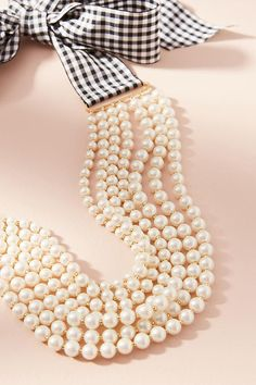 Slide View: 2: Gingham & Pearls Layered Necklace