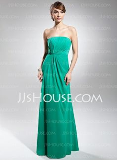 Bridesmaid Dresses - $104.49 - Sheath Strapless Ankle-Length Chiffon Bridesmaid Dresses With Ruffle (007020335) http://jjshouse.com/Sheath-Strapless-Ankle-Length-Chiffon-Bridesmaid-Dresses-With-Ruffle-007020335-g20335