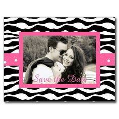 Black and Pink Zebra Print and Chandelier Save the Postcard