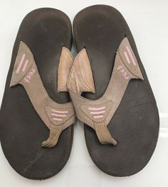 833b964a95a085 Reef Flip Flop Slip On Brown Pink Suede Leather Beach Casual Shoes Womens  Size 7