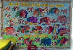 Elmer the Elephant, Celebrate Your Uniqueness Child Guidance, Guidance Lessons, Art Lessons, Elmer The Elephants, Nursery Activities, Preschool Bulletin Boards, Display Boards, Alphabet Crafts, Garden Centre