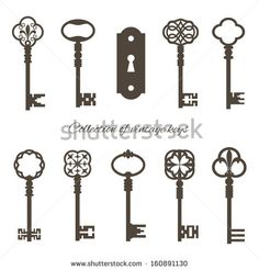 Collection of vintage keys and keyhole isolated on white. Vector illustration.