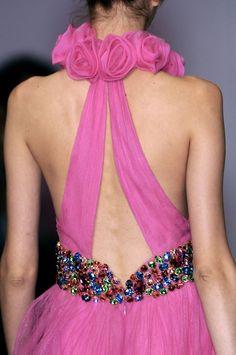 pink dress, low, embellished back.