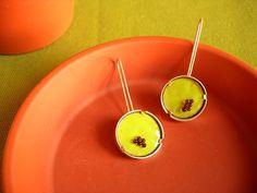 insect egg slide earrings glass enamel silver