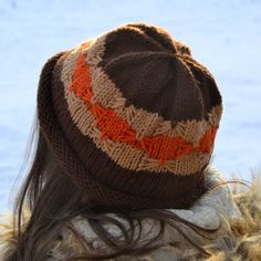 Knit Beanie Hat DECO Hand Knit in Brown Tan and by Gone2Pieces