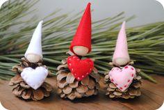 Tutorial Gnomi con pigne e cuori in feltro per San Valentino.