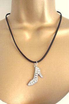 BNWOT Silver Tone Diamante Stiletto Shoe Pendant on a Velvet Style Necklace found at outofthefireuk on ebay.co.uk