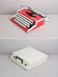 1970s Olympia Traveller de Luxe Typewriter. Very good working condition. Portable vintage typewriter. Pinkish red. Remarkable design. Case.