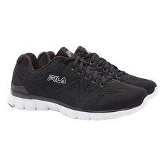 Fila Mens Athletic Memory Foam Shoes, Black/White