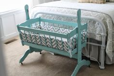 Whimsical Treasures cradle revamp, I want to do this to mine! walking cradles heist Gone are the days when decorating was a Mama Baby, Mom And Baby, Baby Bassinet, Baby Cribs, Baby Craddle, Baby Cradle Wooden, Cradle Bedding, Gender Neutral Baby, Everything Baby