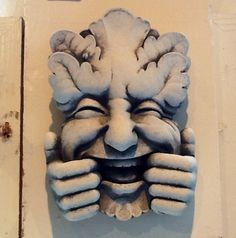 Hand crafted garden face by Carruth Studios in Ohio. This guy makes me laugh!