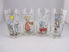 Set of 4 American Greetings Holly Hobbie Glass Tumblers Different Images Saying #AmericanGreetingsCorp