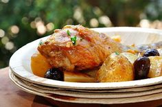 Chicken in wine with olives and new potatoes