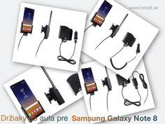 Nové držiaky do auta pre Samsung Galaxy Note 8. Pasívny držiak Brodit pre pevnú montáž v aute, aktívny s CL nabíjačkou, s USB alebo s Molex konektorom.