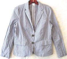 J CREW Factory Gingham Schoolboy Blazer Jacket Blue Check Cotton Keating 0 XS #JCrew #Blazer
