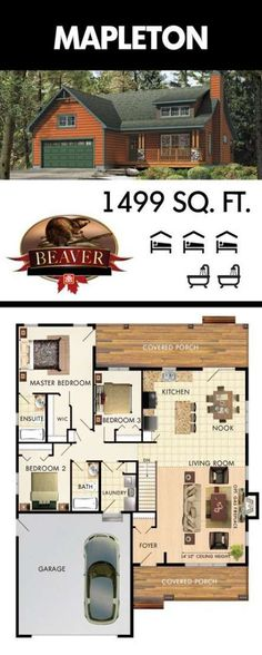 The first thing you notice when entering the Mapleton model is the towering 14 ceilings and overhead windows, adding the perfect amount of natural light. Dream House Plans, Small House Plans, House Floor Plans, Br House, Sims House, House Bath, Building Plans, Building A House, Beaver Homes And Cottages