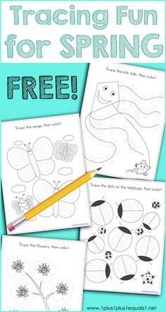 This Spring Theme Tracing Fun printable set is great for Tot School, Preschool and Kindergarten. Work on fine motor skills while tracing butterflies, kites, ladybugs, eggs and flowers. Spring Activities, Motor Activities, Writing Activities, Preschool Activities, Tracing Worksheets, Spring Theme, Pre Writing, Tot School, Fine Motor
