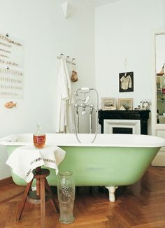 bathroom inspiration - minty green clawfoot tub