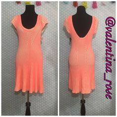 """Free people coral & cream dress Gorgeous dress heavy knit with slight swing effect My dress forms measurements are: bust 34"""", waist 26"""", hips 35""""  Size 6/8 """"medium"""" Free People Dresses Mini"""