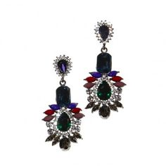 AryA Italian Jewels - Orecchini Donna con Strass Swarovski Multicolore - Women's Colorful Swarovski Crystals Earrings