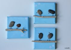 Tableaux galets bois flotté triptyque fond ciel bleu dessin humoristique format 10x10 : Décorations murales par artistik