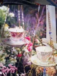 Teacup birdbaths or feeders