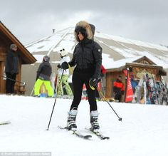 Hurry up: The 34-year-old looked keen to get a full day of skiing in but found herself wai...