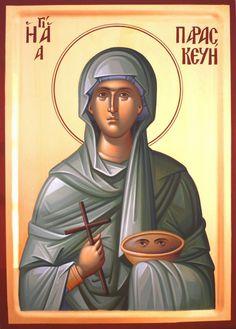 Orthodox icon of Saint Paraskevi Byzantine Icons, Byzantine Art, Religious Icons, Religious Art, Famous Freemasons, Religious Paintings, Art Icon, Orthodox Icons, Mother Mary
