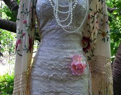 Ivory Lace dress wedding floral   tulle by vintageopulence on Etsy